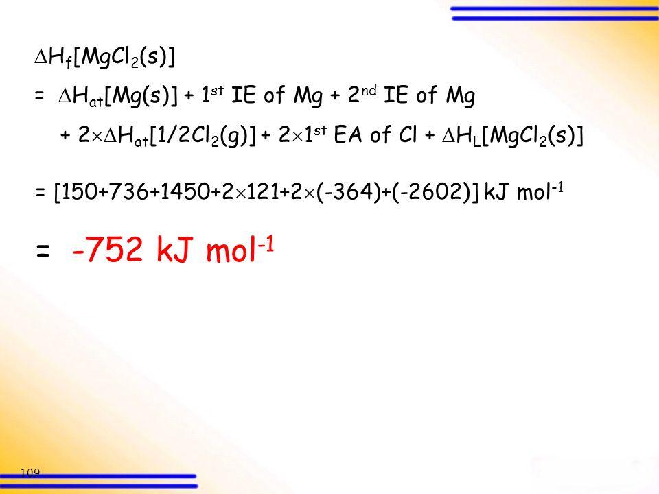 = -752 kJ mol-1 Hf[MgCl2(s)]